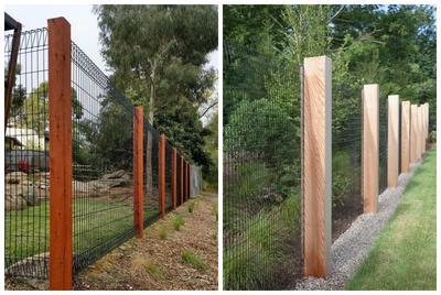 Опоры из древесины облагородят ограждение из сетки