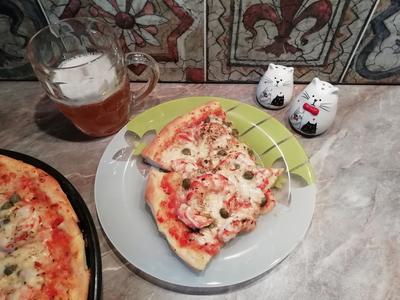 Пицца с креветками и каперсами на дрожжевом тесте. Пошаговый рецепт с фото