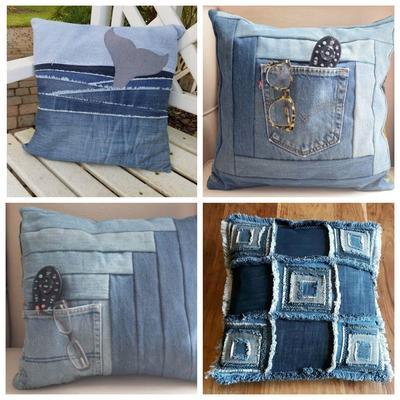 Облик подушки из джинсовой ткани может быть весьма разнообразным