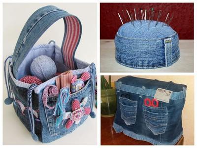 Комплект для рукодельницы дополнит джинсовая корзинка и подушечка для булавок