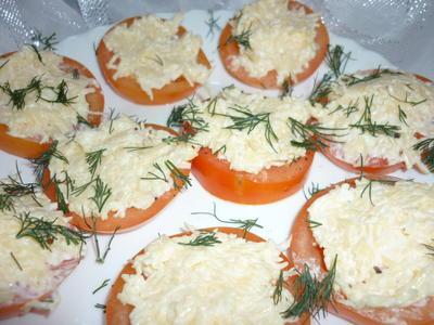 Закуска; Помидоры с сыром; пошаговый рецепт приготовления с фото