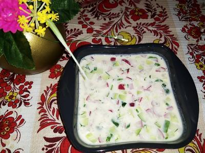 Окрошка ароматная на ряженке - пошаговый рецепт приготовления с фото