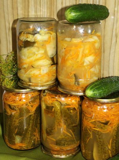 Маринованные огурчики и кабачки с морковью по-корейски - пошаговый рецепт приготовления с фото