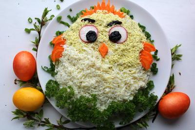 Салат; Цыпленок; с рисом, скумбрией и свежим огурцом. Рецепт с фото