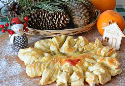 Сырно-оливковый пирог из слоёного теста. Пошаговый рецепт с фото