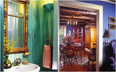 Слева: Водоэмульсионные краски - идеальный вариант для внутренних работ: окраски потолков, стен, в том числе в мокрой зоне; кухне, ванной и туалете. Справа: Яркие, насыщенные тона стен в сочетании с деревянной мебелью - отличное решение для загородного дома.