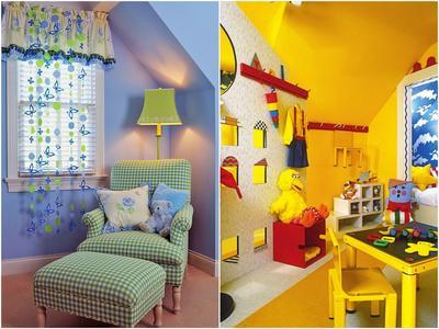 Слева: Обои, покрашенные в пастельные тона, смотрятся особенно выигрышно.  Справа: Основное требование к краскам для детских комнат - безопасность и экологичность.