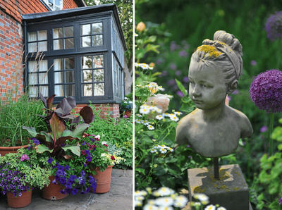 Слева: сад и дом должны быть связаны воедино. Справа: элементы ручной работы - ключевой признак коттеджного сада