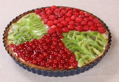Творожный пирог с ягодами и киви в желе: рецепт