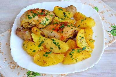 Картофель с куриной голенью по-домашнему - пошаговый рецепт приготовления с фото