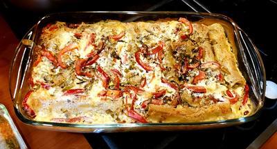 Каннеллони с креветками и овощами в духовке. Пошаговый рецепт с фото