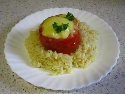 Фаршированные томаты; Импровизация; на рисовой подушке - необычно и вкусно - пошаговый рецепт приготовления с фото