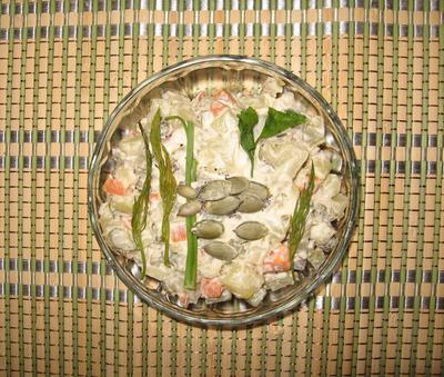 Салат с рыбой и овощами. Пошаговый рецепт с фото