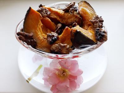 Запеченная тыква с грецкими орехами. Пошаговый рецепт приготовления с фото