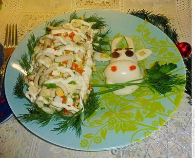 Салат с кальмарами и брынзой. Пошаговый рецепт приготовления с фото