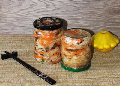 Патиссоны по-корейски холодным способом. Рецепт заготовки на зиму с пошаговыми фотографиями