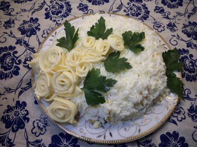 Нежный салат с копченой курицей и сыром; Невеста. Рецепт с пошаговыми фотографиями