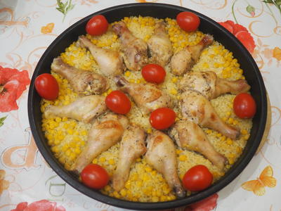 Курица, запеченная с кукурузой и рисом - пошаговый рецепт приготовления с фото