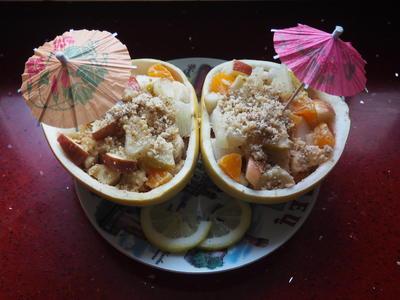 Фруктовый салат для взрослых; Тропический остров; с помело и орехами - пошаговый рецепт приготовления с фото