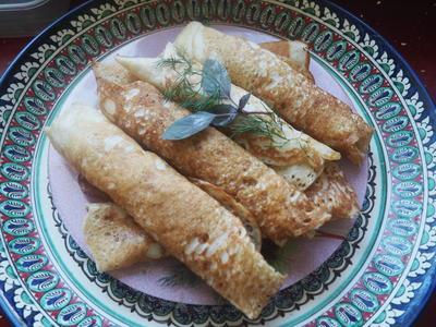 Дрожжевые блинчики с начинкой из капусты. Пошаговый рецепт с фото