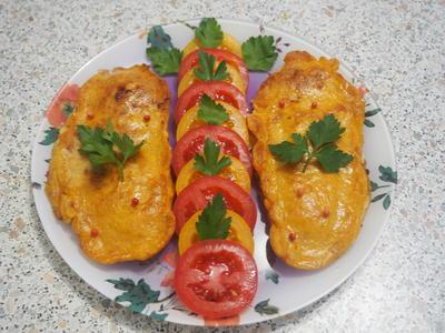 Рыба в сырном кляре со свежими томатами. Пошаговый рецепт приготовления с фото