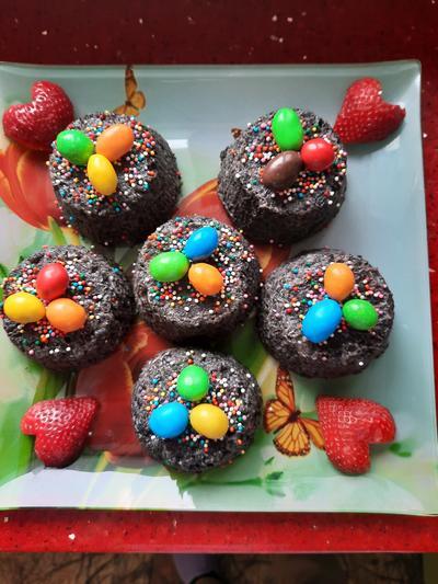 Пирожные-куличики; Шоколадные. Пошаговый рецепт с фото