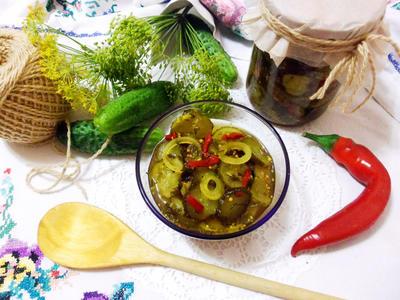 Салат; Пряный огурчик; пошаговый рецепт приготовления с фото