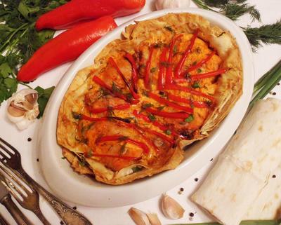 Запеченная курица в съедобной тарелке - пошаговый рецепт приготовления с фото