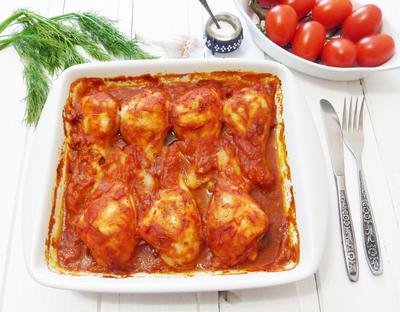Куриные голени в ароматной томатной заливке - пошаговый рецепт приготовления с фото