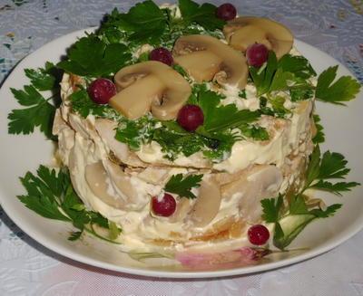 Салат с шампиньонами и куриным мясом - пошаговый рецепт приготовления с фото
