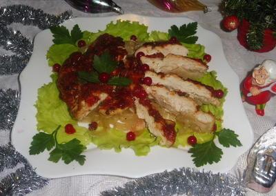 Куриная грудка, запеченная с луком и шашлычным кетчупом - пошаговый рецепт приготовления с фото
