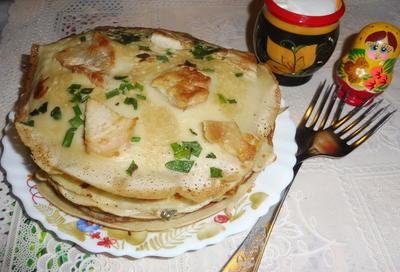 Блины на кефире с припеком из куриной грудки и сыровяленой колбасы. Рецепт с пошаговыми фотографиями