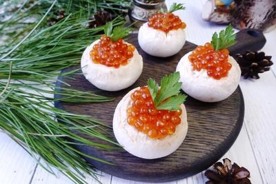 Закуска с красной икрой; Буржуйская; пошаговый рецепт приготовления с фото