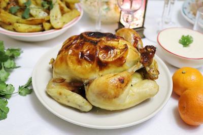 Курица, запеченная с мандаринами и в мандариново-горчичном маринаде. Рецепт фото