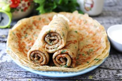 Ржаные блинчики с сыром и зеленью - пошаговый рецепт приготовления с фото