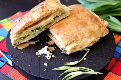 Пирог из слоёного теста с черемшой и сыром - пошаговый рецепт приготовления с фото