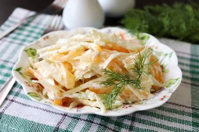 Салат; Наргиз; из помидоров с яблоком, сыром и чесноком - пошаговый рецепт с фото