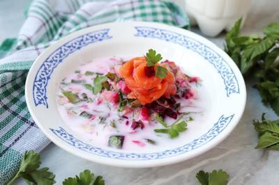Окрошка с соленой рыбой на кумысе - пошаговый рецепт с фото