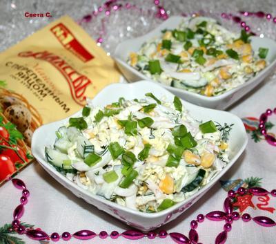 Салат из пекинской капусты с кальмарами и кукурузой - пошаговый рецепт приготовления с фото