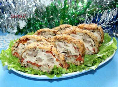 Куриный рулет с печенью, вялеными томатами и хрустящей корочкой из киноа - пошаговый рецепт приготовления с фото