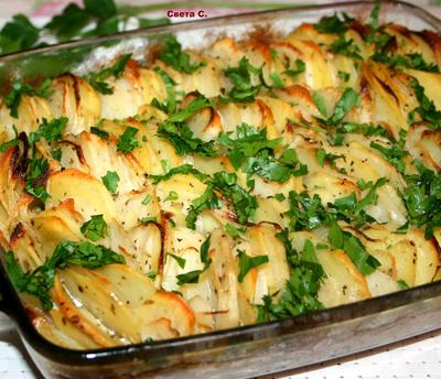 Картофель, запеченный с луком и мясным фаршем - пошаговый рецепт приготовления с фото