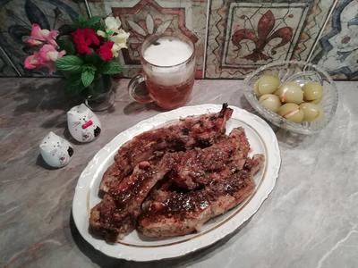 Свиные рёбрышки в луково-коньячном маринаде. Пошаговый рецепт с фото
