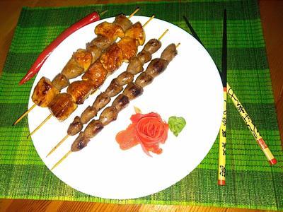 Якитори - шашлычки из куриного филе и сердечек. Пошаговый рецепт с фото