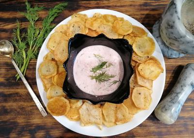 Жареная картошечка со свежим соусом; а-ля чипсы домашние; пошаговый рецепт приготовления с фото
