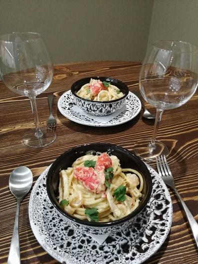 Новогодняя паста с морепродуктами - пошаговый рецепт приготовления с фото