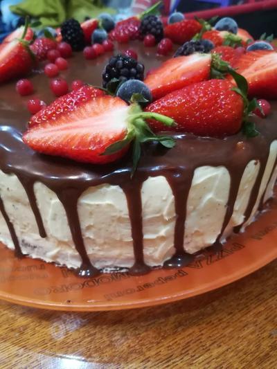 Шоколадный торт с кремом; Пломбир; пошаговый рецепт приготовления с фото