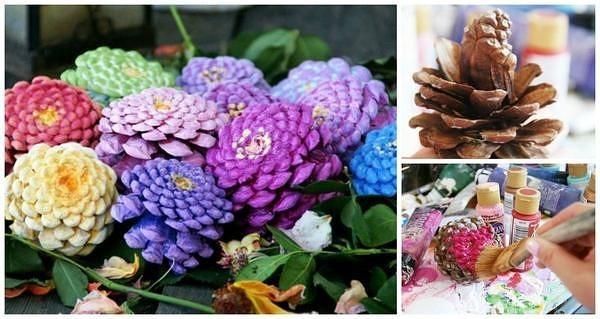 цветы из еловых-сосновых шишек