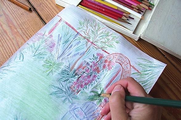 Раскрасьте картинку цветными карандашами.