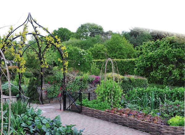 Ажурная металлическая арка служит стильной границей между декоративной и огородной зонами сада.