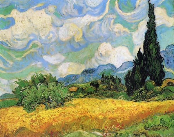 """Винсент Ван Гог """"Пшеничное поле с кипарисами."""